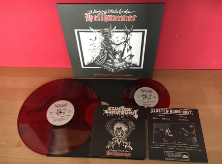 "HELLHAMMER - VA - Apocalyptic punk raids - a fucking tribute to Hellhammer & 7"" EP - red marbled vinyl      LP"