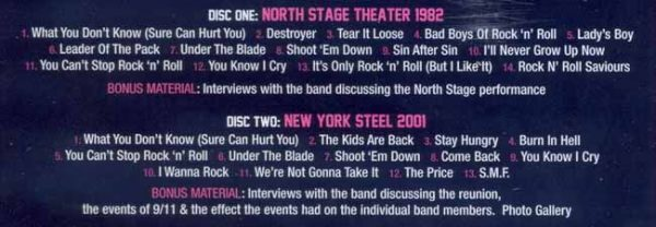 TWISTED SISTER - Double live - North Stage `82 & New York Steel `01      DVD